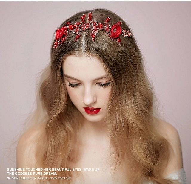 Lovely red bridal headdress hair accessories flowers Korean retro wedding  accessories rhinestones headbands for bride 2015 3cf80ce4bde