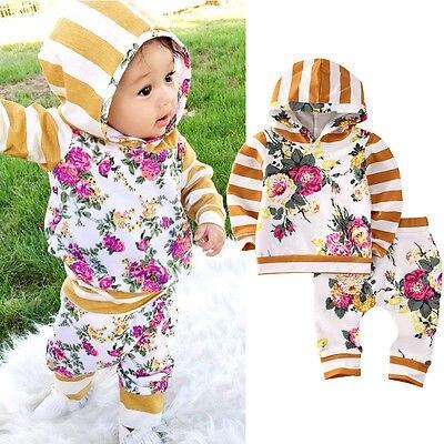 Симпатичная футболка с капюшоном для маленьких девочек топы штаны с цветочным рисунком комплект одежды из 2 вещей комплекты детской одежды ...