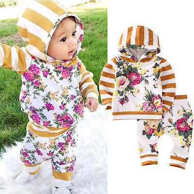 Cute Kids Baby Girls Hooded Sweatshirt Tops Floral Pants 2pcs Outfits Set Children Clothes Set Autumn0-7T