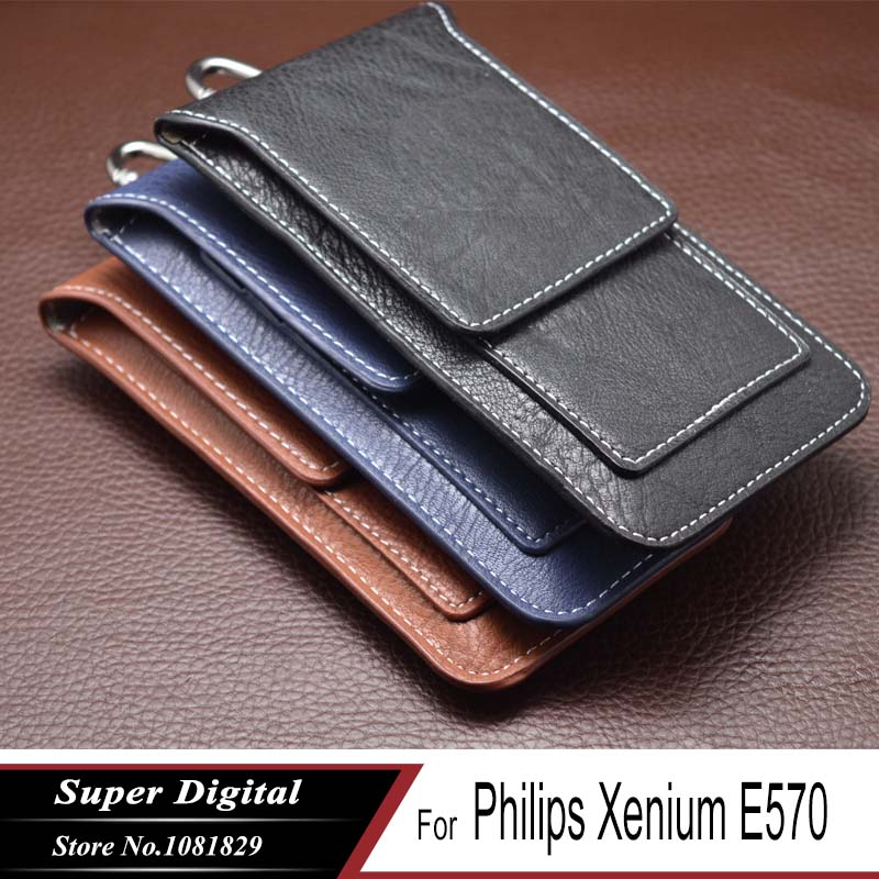 Case For Philips Xenium E570 luxury pouch PU leather phone flip multifunctional cover phone holster mobile phone bag