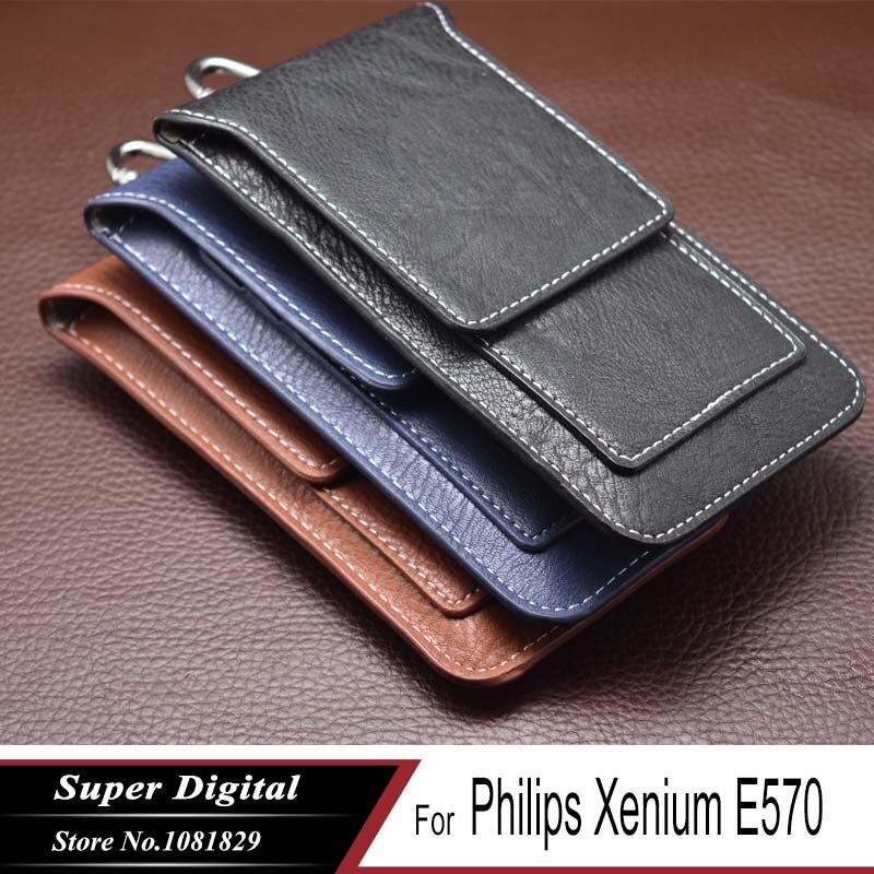 Fall Für Philips Xenium E570 luxus beutel PU leder telefon flip multifunktionale abdeckung telefon holster handy tasche