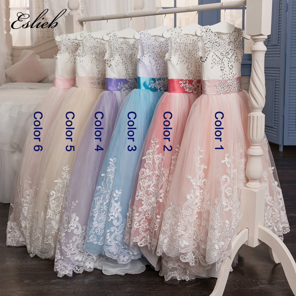 Eslieb Romantic Lace Puffy Lace Flower Girl Dress 2017 for Weddings Tulle Ball Gown Girl Party Communion Dress Pageant Gown