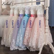 2017 Romantisk Blonder Puffy Blonder Flower Girl Dress For Bryllup Tulle Ball Gown Girl Party Communion Kjole Sideant Kjole