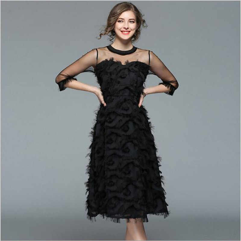 2019 Summer Women dress 3/4 Sleeve Patchwork Mesh Black Tassel Feather Dresses QV182