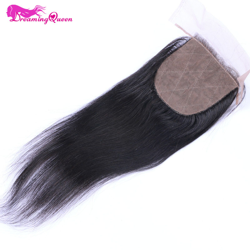 Dreaming Queen Hair Silk Base Closure Brazilian Straight Human Hair Remy Hair Bleached knots Closure With