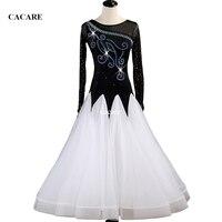 Customized Waltz Dress Ballroom Dance Competition Dresses Standard Dance Dresses Ballroom Dress D0442 Long Sleeve Rhinestones