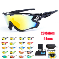 Obaolay 5 Lens Polarized Cycling Glasses Jaw Sport Cycling Sunglasses Men UV400 Breaker MTB Cycling Eyewear
