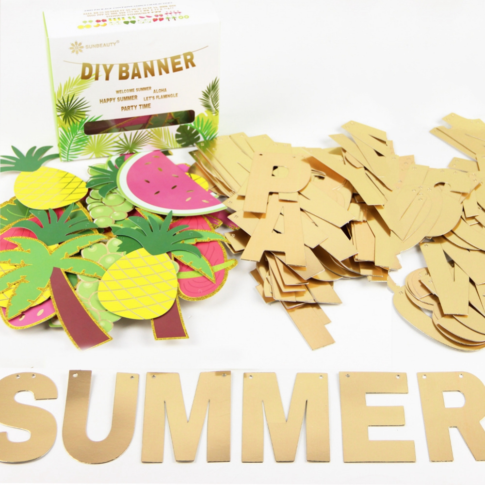 Summer Custom Banner & Fruits Kit DIY Beach Garland Ananász Garland Trópusi Hawaii születésnapi zuhanyzók Pool Party Flamingo