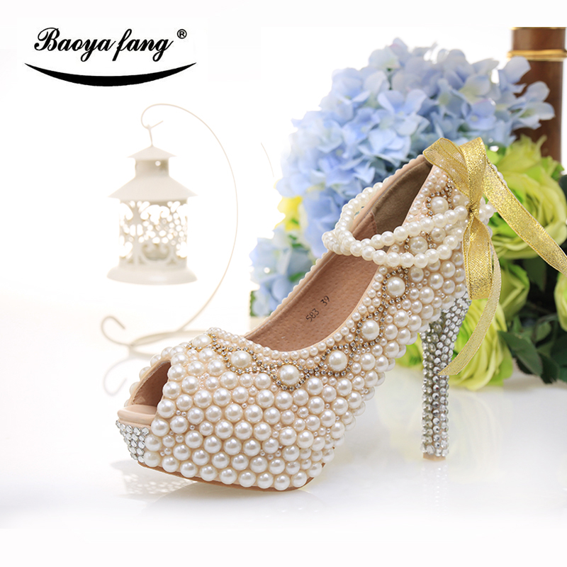 BaoYaFang New arrival Peep toe Pearl Women wedding shoes High heel fashion shoes woman platform shoes 12cm female big size shoes new arrival spring and autumn red pearl wedding shoe up heel platform shoes woman party shoes luxury handmade shoes size 34 39