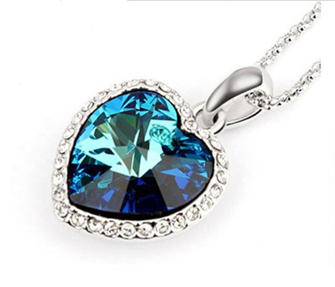 Silver plate link chain pendant necklace blue crystal gem heart silver plate link chain pendant necklace blue crystal gem heart necklace pendant women heart shape pendent necklaces jewelry in pendant necklaces from mozeypictures Image collections