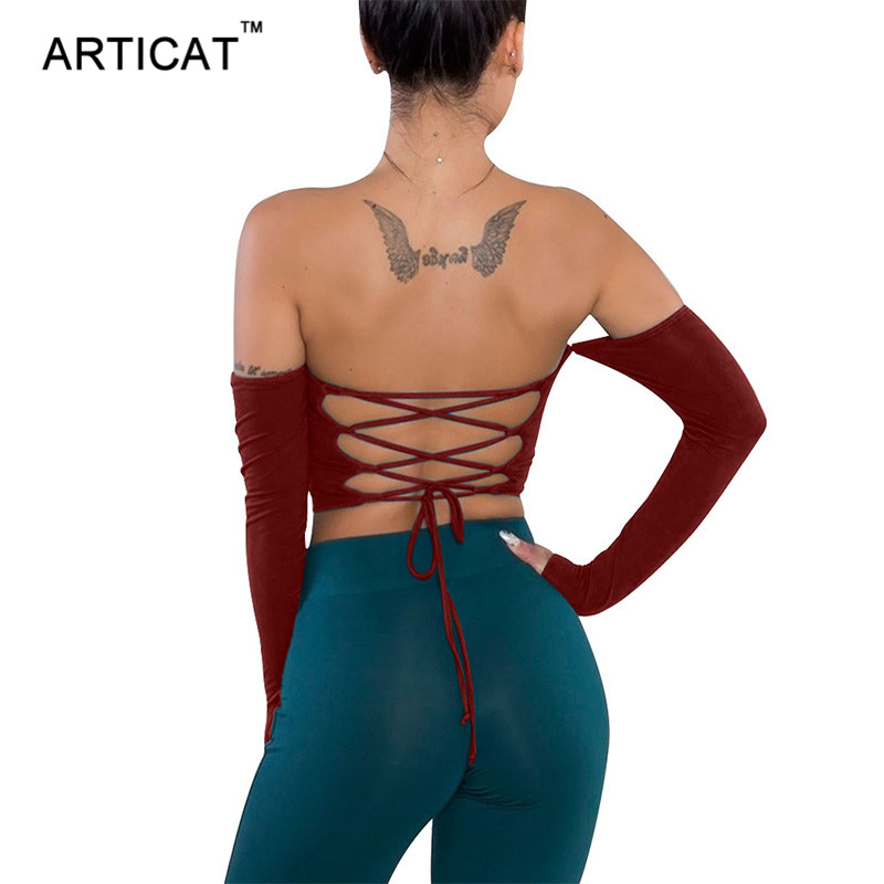 Articat Sexy Criss Cross Bandage Backless Tops Women T Shirt Off Shoulder Slash Neck Cropped Shirt Autumn Long Sleeve Tshirt Tee
