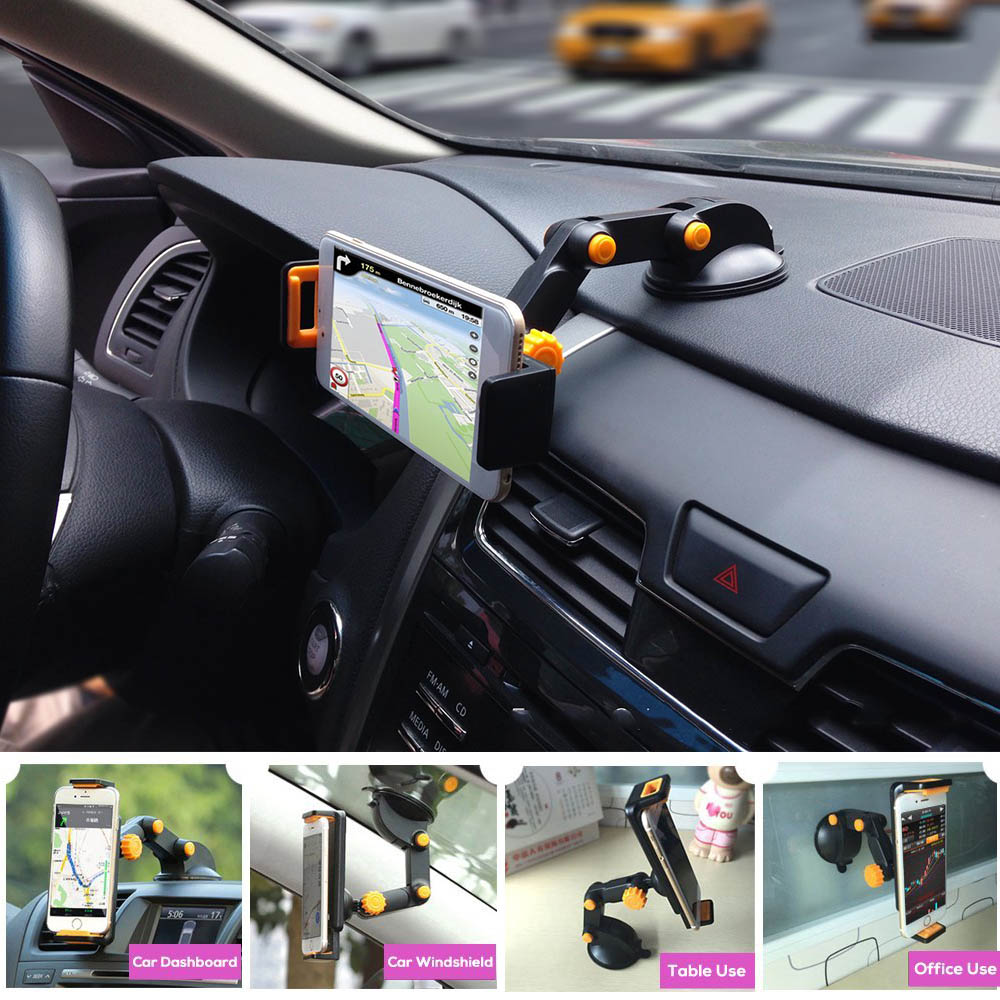 360 Degree Rotation Universal Car Phone Tablet Holder Sucker Stand 4.5-9.7 inch Stretchable For iPhone for iPad mini Air Holder h05 360 degree rotation suction cup holder w c46 mini back clip for iphone 4 4s 5 black