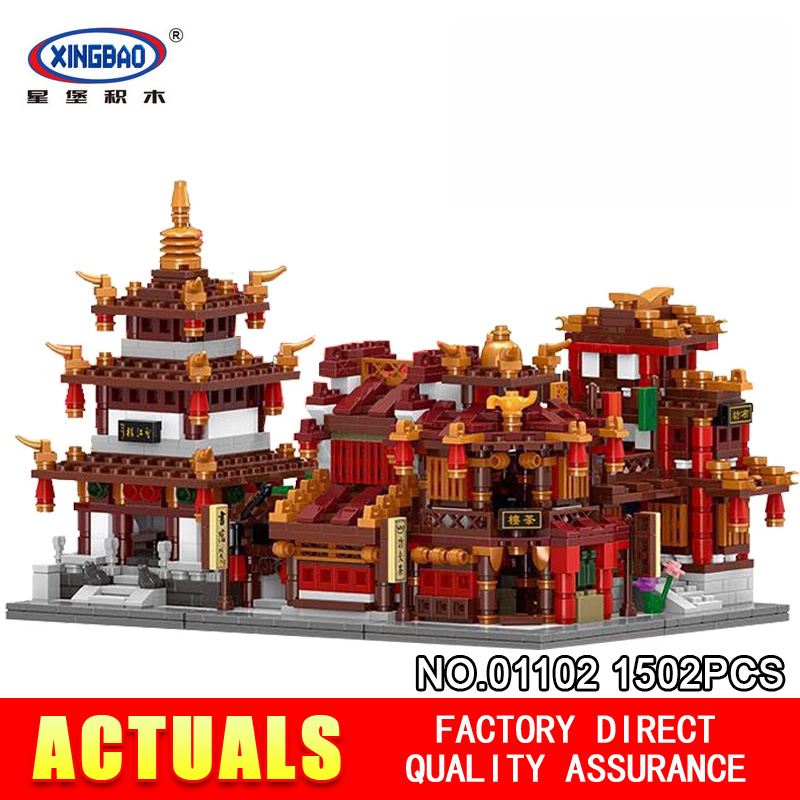 1502Pcs XingBao 01102 Zhong Hua Street Series 4 in 1 The Teahouse Library Cloth House Wangjiang Tower Set Building Blocks toys xingbao 01102 new zhong hua street series the teahouse library cloth house wangjiang tower set building blocks brick christmas