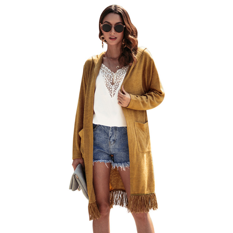 2018 Autumn Winter Casual Long Sleeve Tassel Hooded Long Coat Women Solid Knitted Cardigan Sweater   Trench   Coat Fashion Outerwear