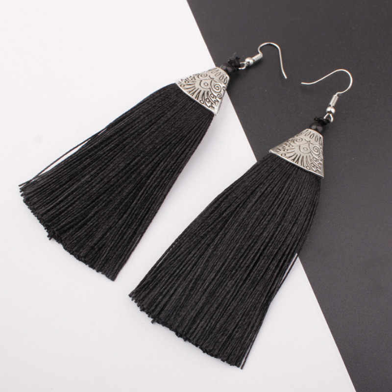 2019 new jewelry ladies tassel earrings exaggerated retro 9 color pendant earrings wholesale