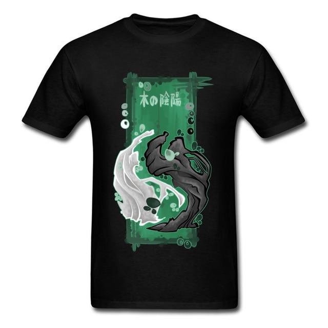 Japan Kanji Print Men Black T Shirt Cool Yin Yang Symbol Short