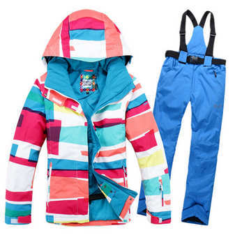 Free shipping New Style Gsou snow snowboard womens skiing suit sets winter clothes windproof waterproof snowboard cotton dresses