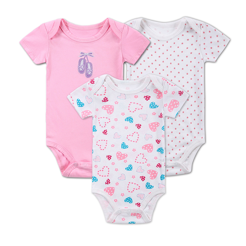 Belva Cotton Baby Girl's Jumpsuits Single Breasted Newborn Short Sleeve Bodysuits 100% Cotton 3 Colors Baby Clothing     DH16312