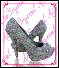 Aidocrystal Handmade Fashion White Pearls Peep toe Bridal Wedding heels bridesmaid shoes 12cm