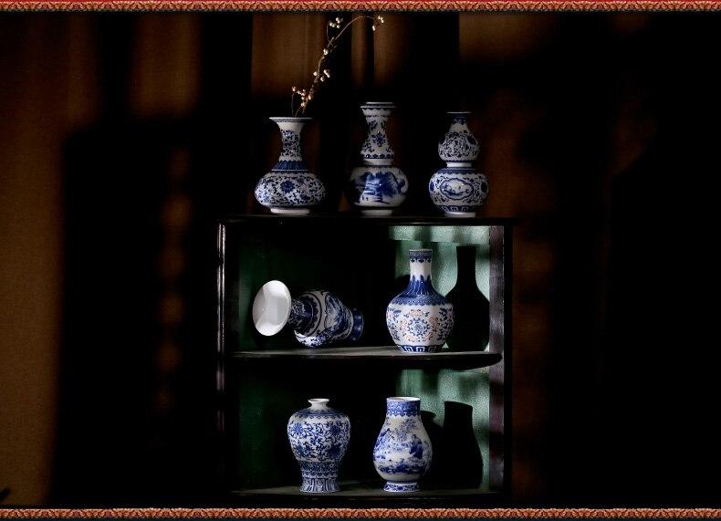 ღ ღjingdezhen antieke underglazed blauw en wit keramische vaas
