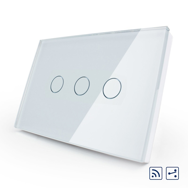 Manufacturer, smart switch,US/AU standard,OS-003SR-81,3-gang 2-way Remote Touch Light Switch, Crystal Glass Panel,LED indicator manufacturer smart home white crystal glass panel us au wall light touch switch 2 gang 1 way power 110 250v with led indicator
