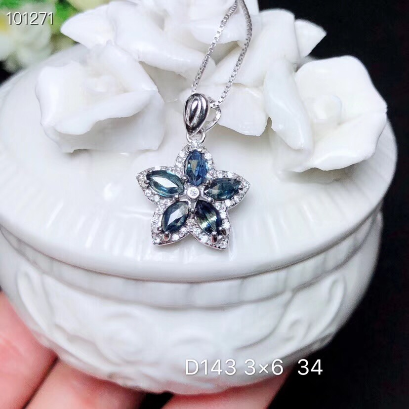 Flower Sapphire necklace pendant Free shipping Natural real sapphire 925 sterling silver PendantFlower Sapphire necklace pendant Free shipping Natural real sapphire 925 sterling silver Pendant