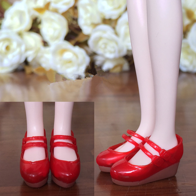 Red Fashion Shoes For Blythe Dolls 1//6 Red Plastic Wedge Heel Shoes Mini Shoes