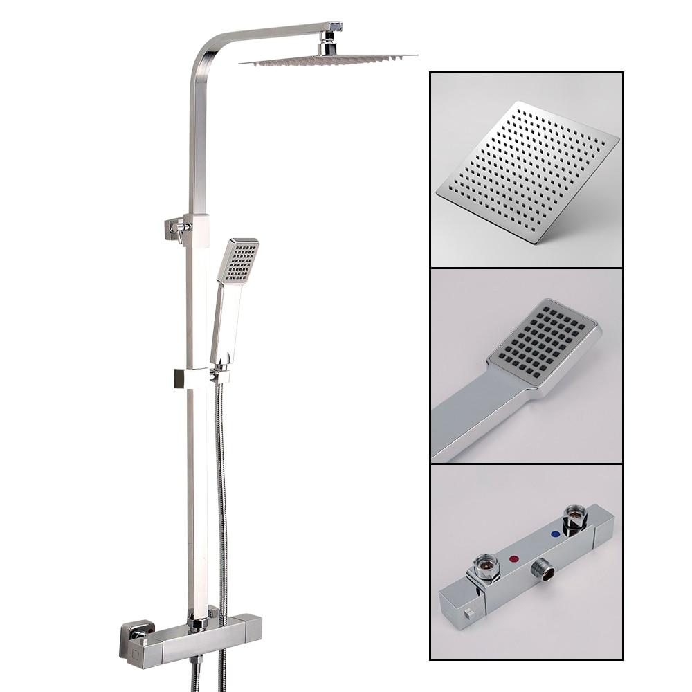 New Rain Shower Set Chrome Thermostatic Water Shower Faucet Set Bath Tub Shower Mixer with Handshower 8