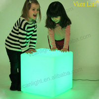 50*50cm RGB Rechargeable Led illuminated Furniture Remote Control Outdoor Led Cube Chair bar KTV Pub Plastic Tables lighting