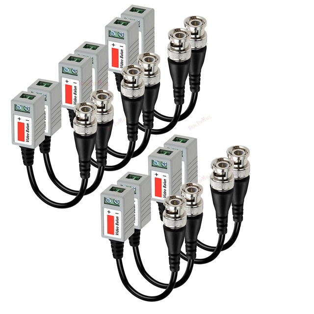 New 10 Pcs (5 pairs)CCTV Camera Passive Video Balun BNC Connector Coaxial Cable Adapter
