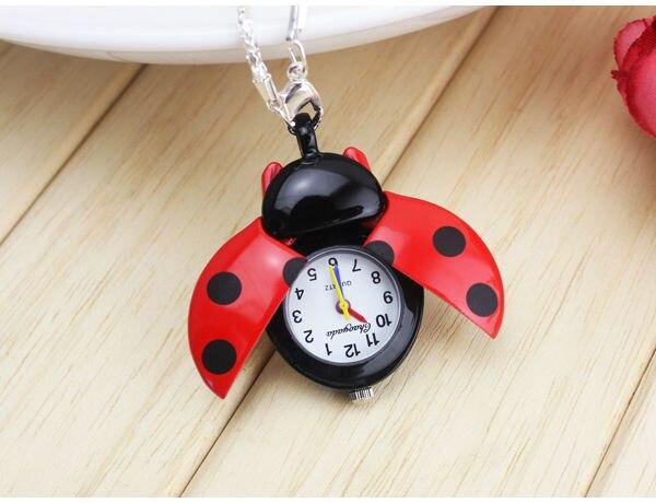 Dropshipping Brand Fashion Colorful Ladybug Necklace Pocket Pendant Dress Quartz Watch kids girls keychain Clock Reloj