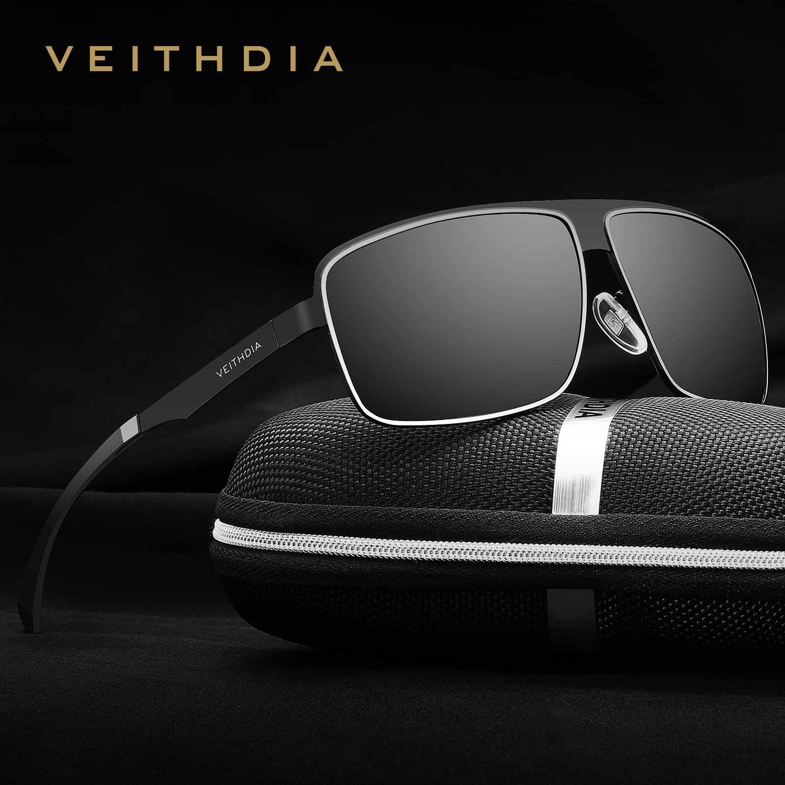 VEITHDIA Acier Inoxydable HD Aluminium et de magnésium Polarisées UV400 Hommes de Carré Vintage lunettes de Soleil Homme Lunettes lunettes de Soleil Pour Hommes