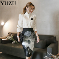 Office Lady 2 Piece Set Ink Printed Skirt Knee-Length + White Long Sleeve Shirt Half Turtleneck Single Breasted Lace Shirts