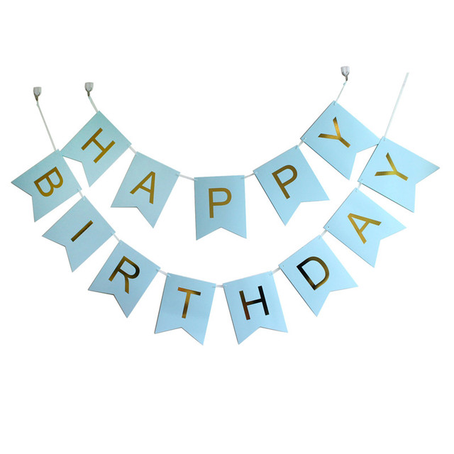 Happy Birthday Banner Pink Blue Mint Black Kit Bunting Garlands With