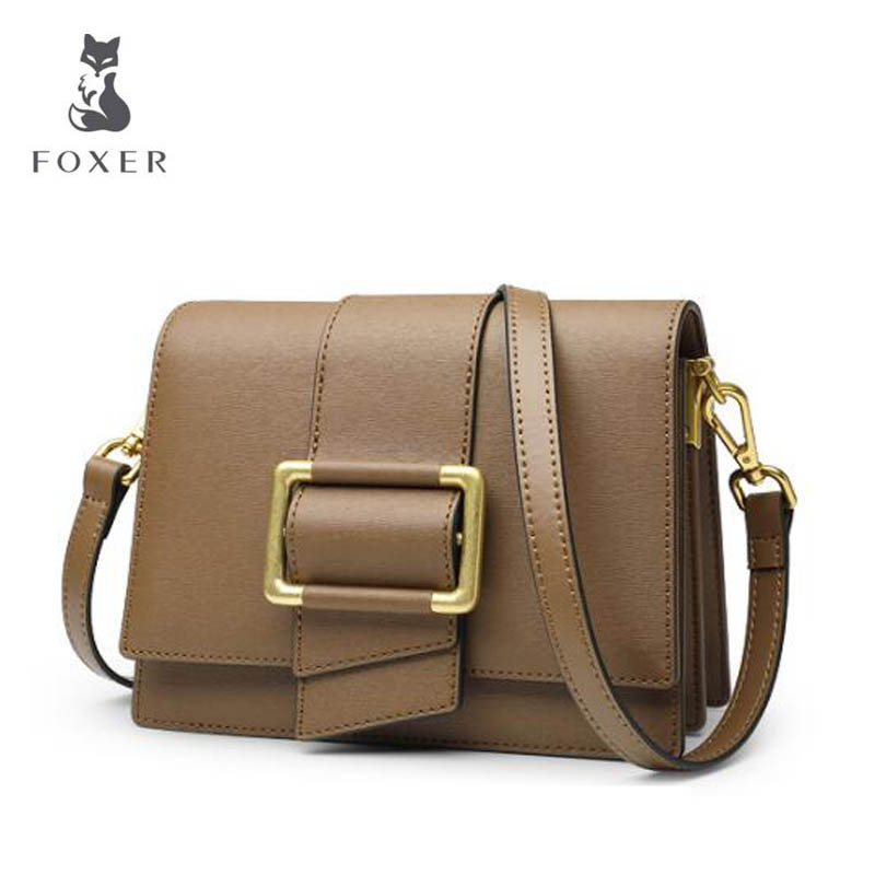 цены FOXER 2018 New women leather bag fashion Small square bag luxury women handbag designer shoulder bag Handbags & Crossbody bags
