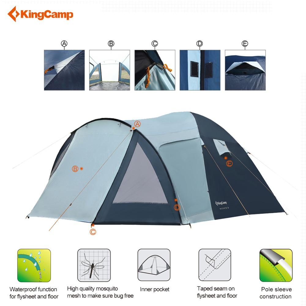 KingCamp outdoor camping tent pop up tent automatic waterproof camping tents Four-season Waterproof Breathable 3-4 Person 185T P kingcamp camping tent waterproof brand windproof bari fire resistant 4 person 3 season outdoor tent for family camping