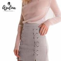 Adalisa 2016 Women Leather Suede Pencil Cross Mini Skirt Winter Vintage Short Bodycon Skirts Sexy Split
