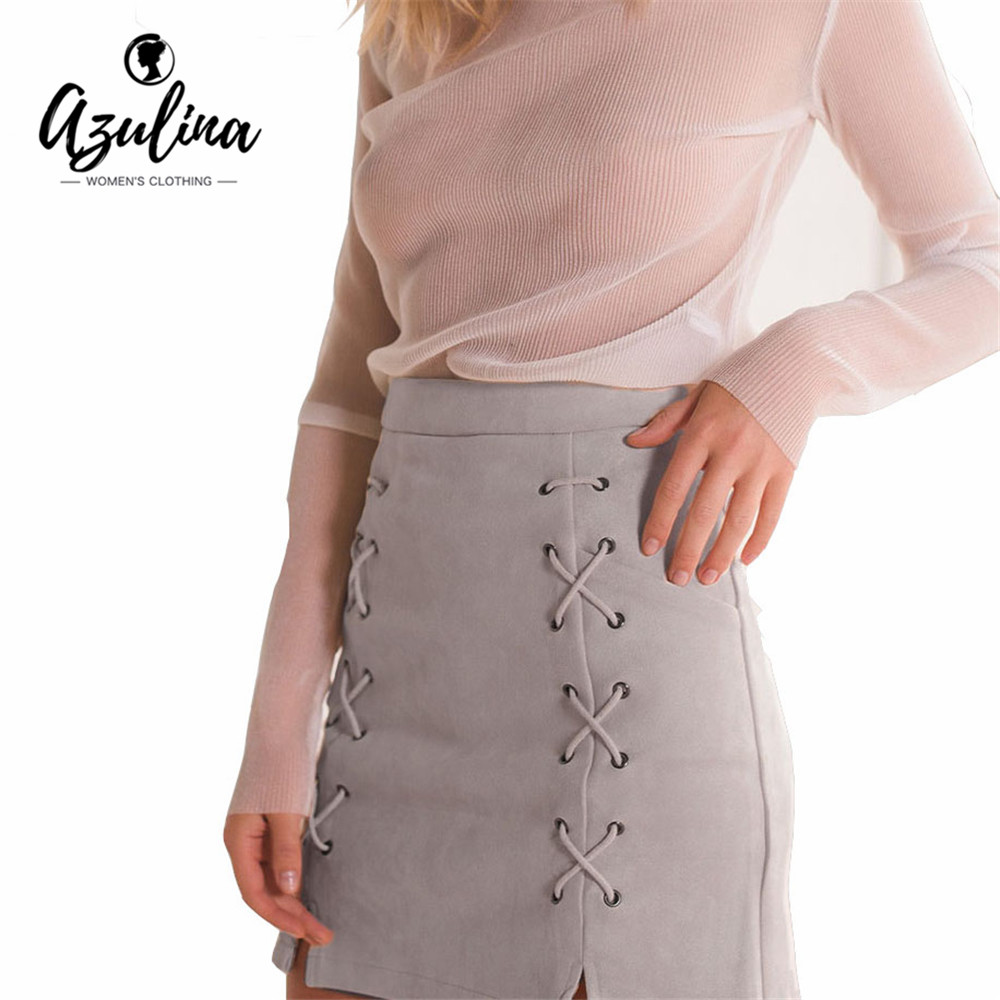 AZULINA Women Leather Suede Pencil Black Mini Skirt 2017 Spring Autumn High Waist Short Bodycon Lace
