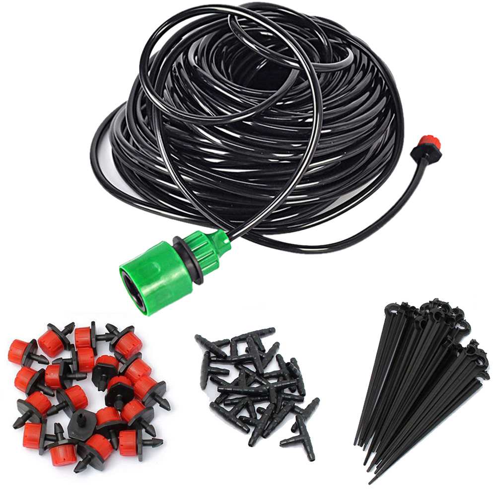 5M DIY Micro Drip Irrigation System Plant Automatic Self Watering Garden Hose Kits with Connector+10x Adjustable Dripper 1 Set