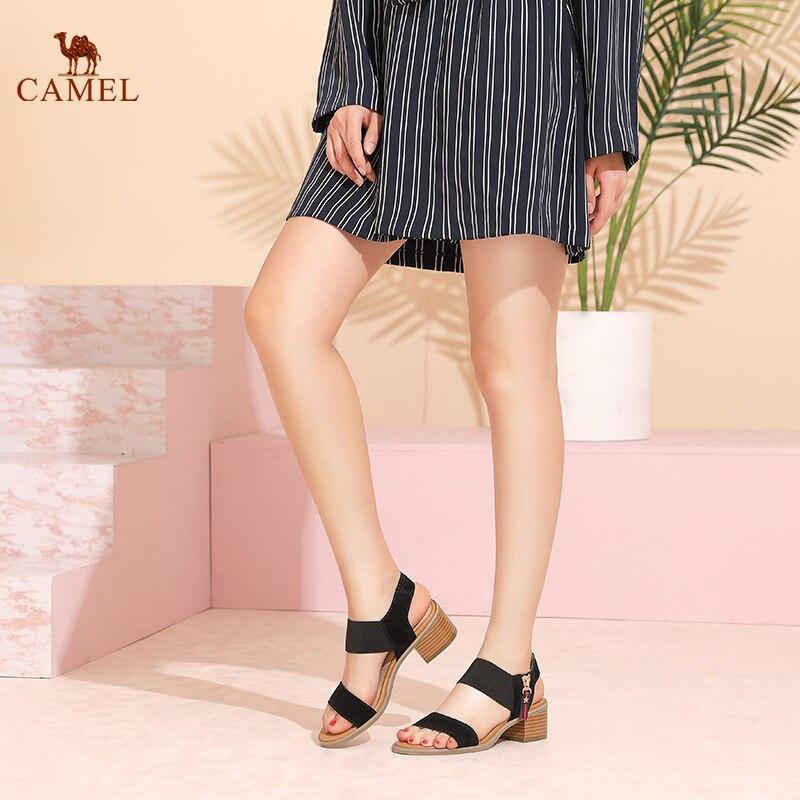 Altos Tacón Nueva gray Tacones Casual De 2018 Verano Tendencia Camel Black Sandalias Simple Gruesas Cuadrado Cómodo Moda Mujer Pdq4gZpx