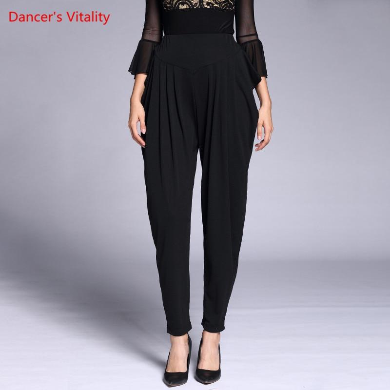 Autumn Winter Ballroom Dance Trousers Adult Elastic force Loose Black Dance Pants Women Latin Waltz Tango Dance Practice Costume 3