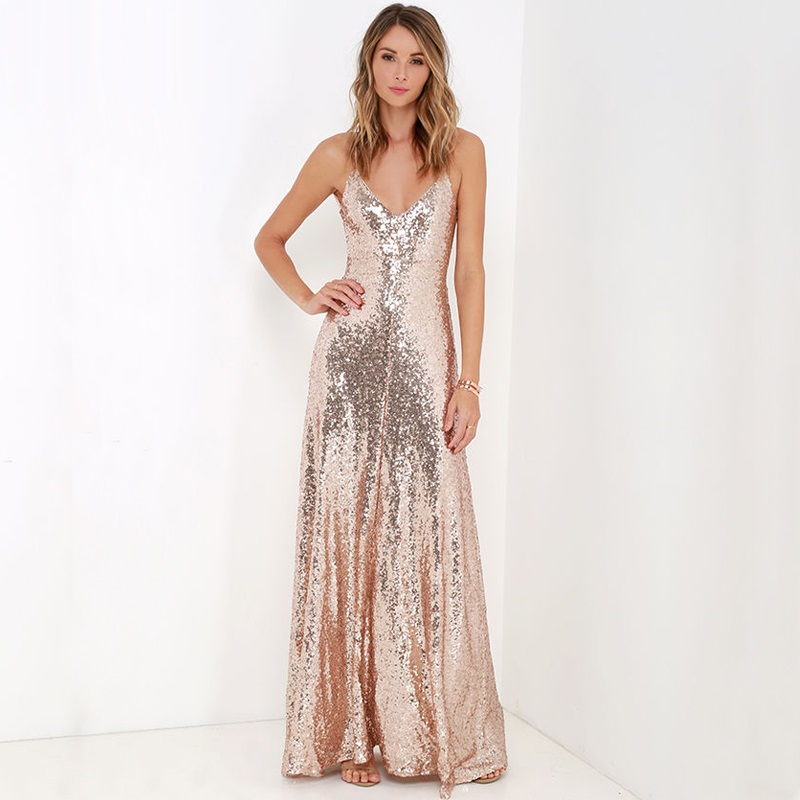 Witsources Champagne Colour Women Dresses Ladies Sequins strap sexy  backless maxi party dress SD3095