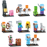 8set Lot My World Zombie Steve Enderman Building Block Compatible Legoing Minecrafted Action Figures Toys Gift
