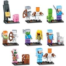 8set/lot My World Zombie Steve Enderman Building Block Compatible Legoing Action Figures toys present
