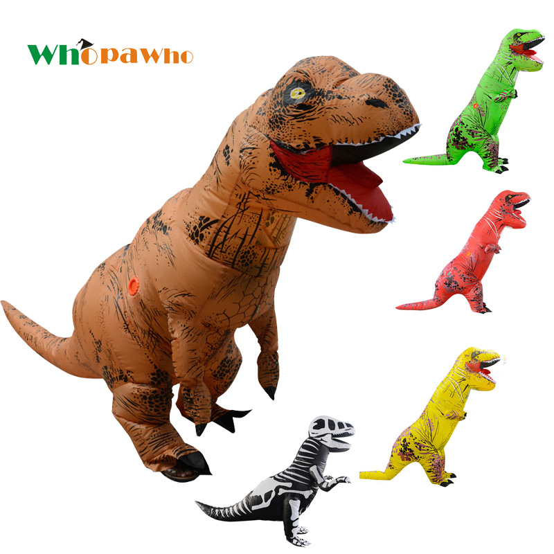Adult Inflatable Costume Blowup T-Rex Dinosaur Cosplay Dino Mascot Party Dress Halloween Costumes for Woman