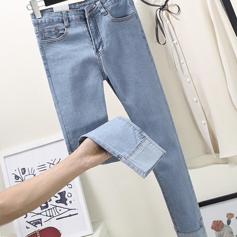 New edition of tall waist new light blue pencil pants students stretch feet boots flanging height pants jeans are female