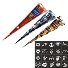 New Arrival Body Art 3 Piece Henna Cones Red Brown Black + 15 Stencils Temporary Tattoo Stencils Kit