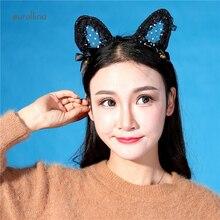 Sexy Adult Woman Flirting Innocent Headband Lace Hollowout Cat Ear Catwoman Kitten Ear Cute Hairband Sexy Wild Fantasy Leopard S maas s catwoman soulstealer