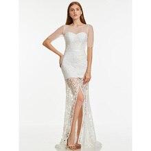 Dressv/длинное вечернее платье цвета слоновой кости, недорогое кружевное платье с круглым вырезом и короткими рукавами для свадьбы, вечерние платья-футляры