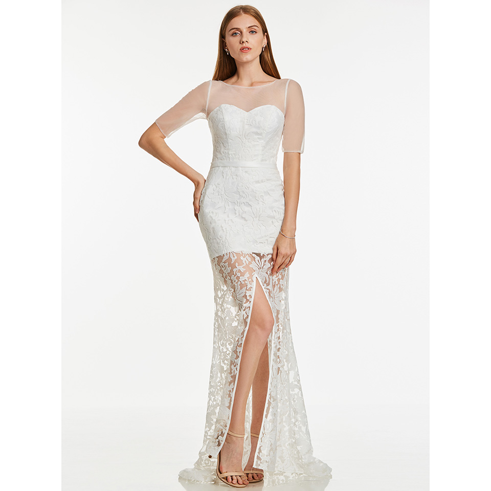 Dressv ivory long evening dress cheap scoop neck lace short sleeves wedding party formal dress sheath evening dresses